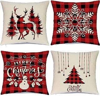 Sadaunbe Christmas Pillow Covers 18 x 18 Inches Set of 4 - Xmas Series Cushion Cover Case Pillow Custom Zippered Square Pillowcase (13 Christmas)