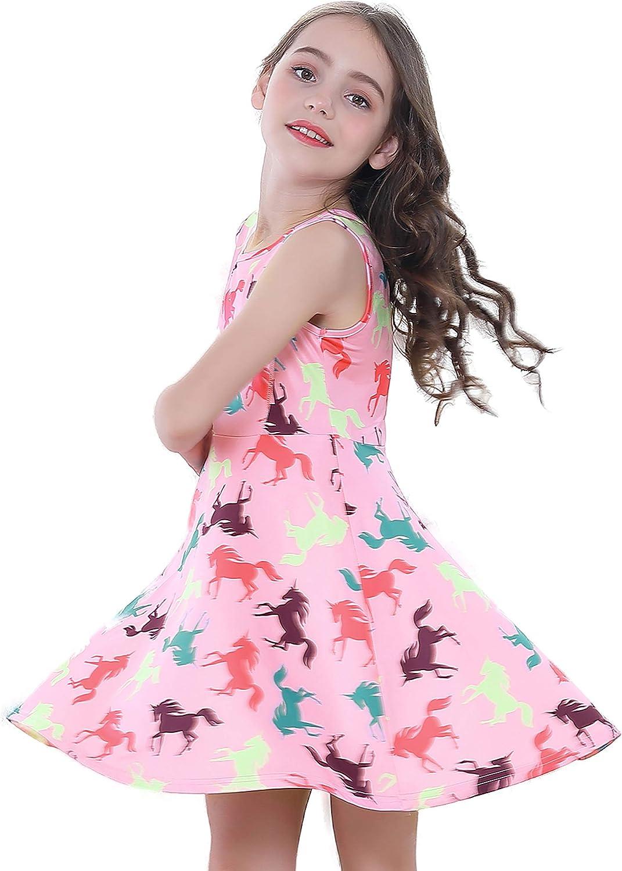 Girls Unicorn Dress Casual Rainbow Sundress Daily Wearing Birthday Party Dress 3-13 Years