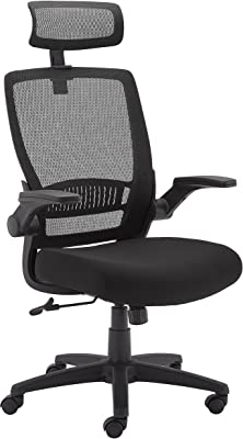 Amazon Basics Ergonomic Adjustable High-Back Mesh Chair with Flip-Up Arms and Headrest, Upholstered Mesh Seat - Black