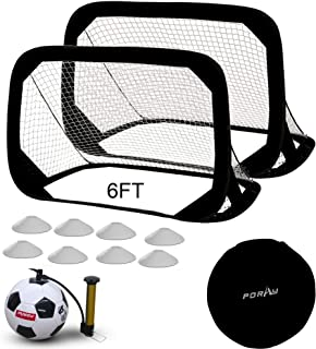porayhut Large Size 6FT Pop Up Soccer Goal Sets,Training Soccer Goal with Portable Carrying Case,Soccer Net for Practice,8 Field Marker Cones and 4 Size Traditional Soccer Ball with Pump, Needles