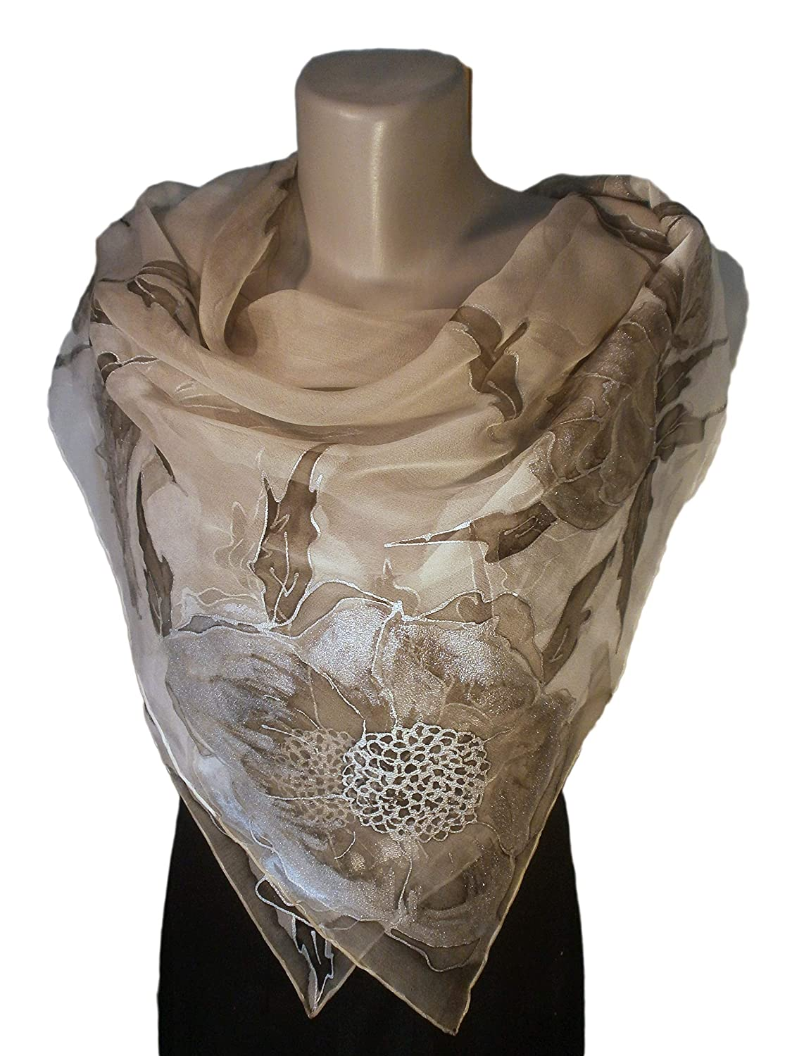 SILVER NIGHT Hand-Painted Silk Woman Sil Scarf Long Beach 5 ☆ popular Mall Pure