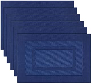 pigchcy Placemats,Washable Woven Vinyl Placemats for Dining Table,Easy to Clean Plastic Placemats Set of 6(18 X12 inch, Navy Blue)