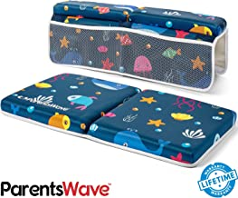 Bath Kneeler and Elbow Rest - Pad Set by ParentsWave Thick Padded Kneeling Mat for Baby Tub Bathing - Bathtub Waterproof Cushion for Infant Bathtime - Washable Foam Pillow for Knee and Arms Protection