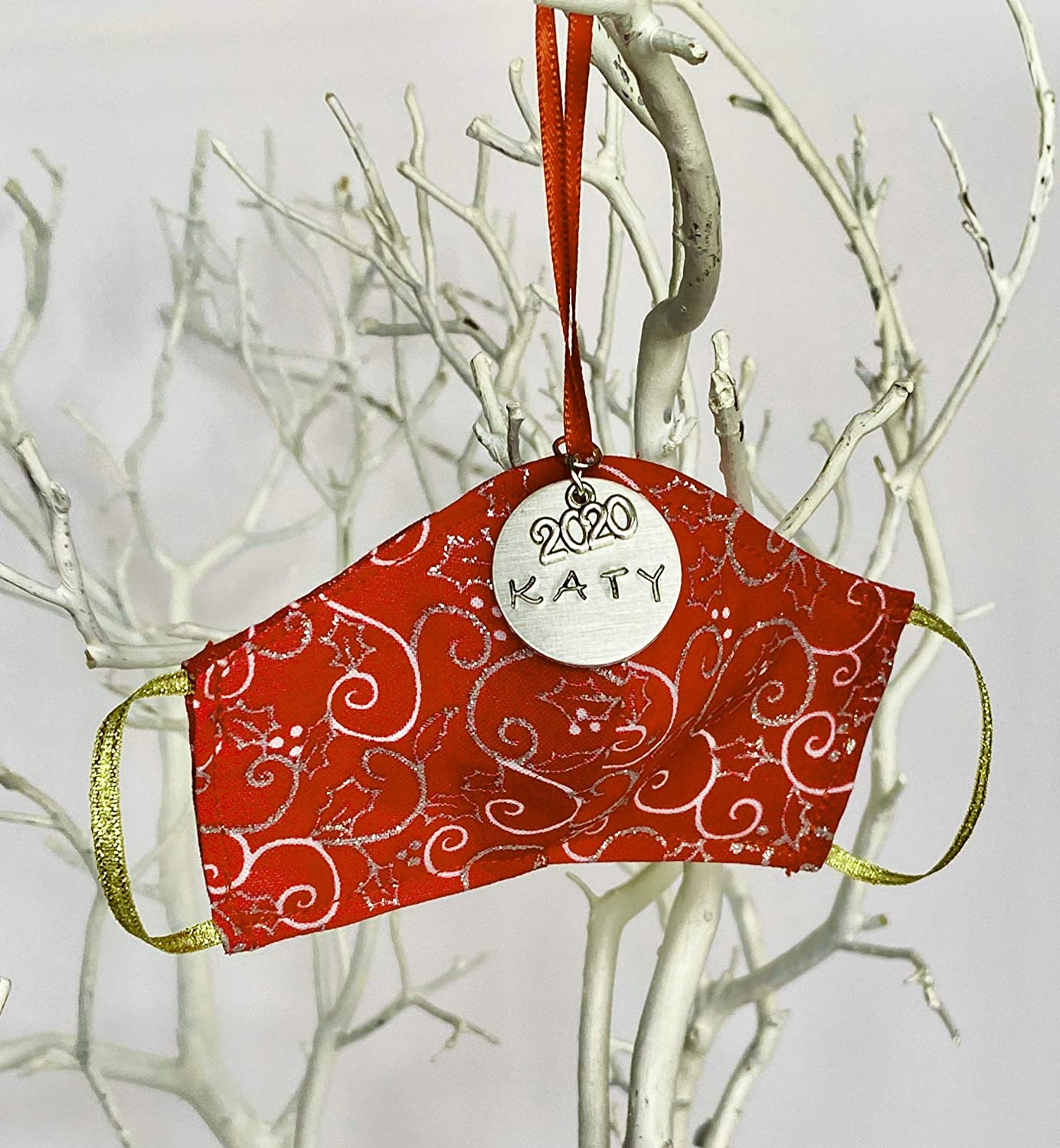 Brand new Silver Red Swirl Personalized Christmas Mask Tree Factory outlet Face Ornament