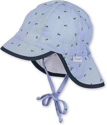 Sterntaler Bonnet avec visière, Cordons à nouer et protège-cou, Âge: 3-4 Mois, Taille: 39, Bleu claire (Ciel)