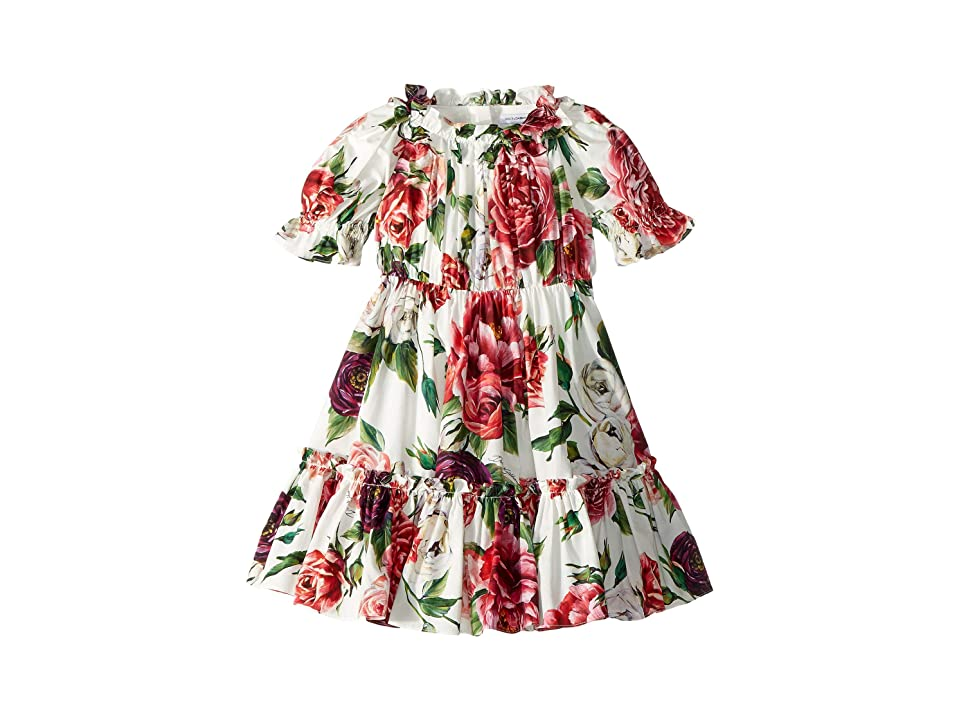 Dolce & Gabbana Kids Poplin Peonie Dress (Toddler/Little Kids) (Peonie Print) Girl