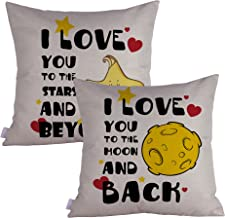 Queenie - 2 Pcs All about Love Quotable Quotes Meaningful English Writing Decorative Pillowcase Thick Cushion Cover 18 X 1...