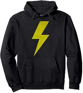 Retro Distressed Yellow Lightning Bolt Pullover Hoodie