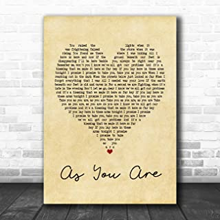 As You are (Shy FX Remix) Vintage Heart Quote Song Lyric Music Poster Gift Present Art Print