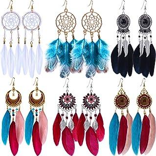 Mauve dream catchers leather earrings for women under 30 dollars