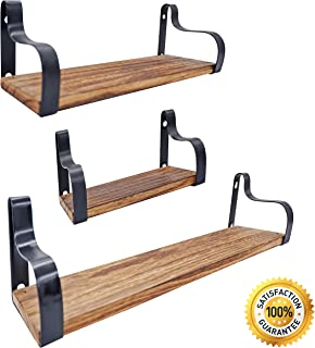 Decorative Vintage Shelves SET of 3 with Popular Rustic Accent. Floating Shelves Wall Mounted, Easy Install, Rustic Solid paulownia wood. Perfect Storage For Home & Office to Reduce Clutter & Organize