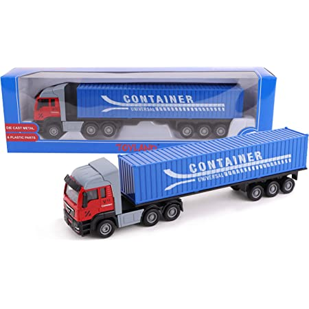 Giocattolo per Camion portacontainer Blue, Cargo Truck Giocattolo Modello di Camion da Costruzione Lega squisita 1:48 Facile da Usare