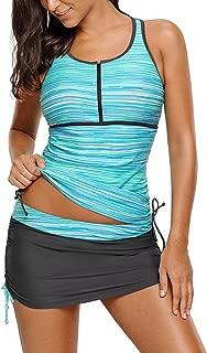 luvamia Women's 2 Pieces Print Zip Front Racerback Tankini Set Swimsuits with Skirt