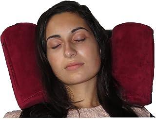 Skysiesta (Burgundy) Travel Pillow with Foam Head Supports, Bag, Adjustable Eye Mask