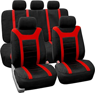 FH Group Universal Fit Full Set Sports Fabric Car Seat Cover with Airbag & Split Ready, (Red/Black) (FH-FB070115, Fit Most Car, Truck, SUV, or Van)