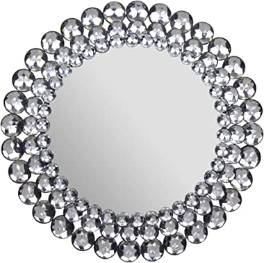 """Everly Hart Collection Circle Jewel Beaded Mirrors, 17"""" x 17"""""""