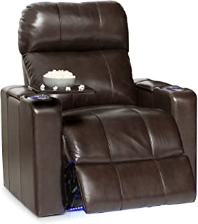Seatcraft 2208 Monterey Leather Home Theater Seating Recliner with Adjustable Powered Headrest, in-Arm Storage, USB Charging, Ambient Base Lighting and Cup Holders, Brown