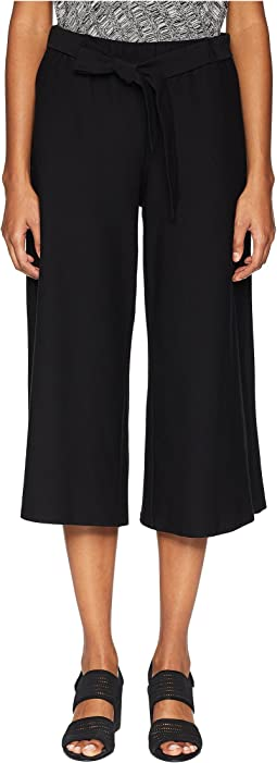 Lightweight Washable Stretch Crepe Wide Cropped Pants with Tie