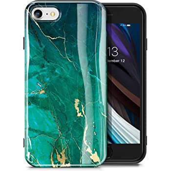 GVIEWIN Marble iPhone SE 2020 Case/iPhone 8 Case/iPhone 7 Case, Ultra Slim Thin Glossy Soft TPU Gel Phone Case Cover Compatible iPhone SE2/iPhone 7/8 4.7 Inch (Green/Gold)