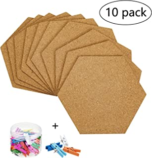 10 Pack Self-Adhesive Cork Board Tiles Mini Wall Bulletin Board with 50 Multi-Color Push Pins