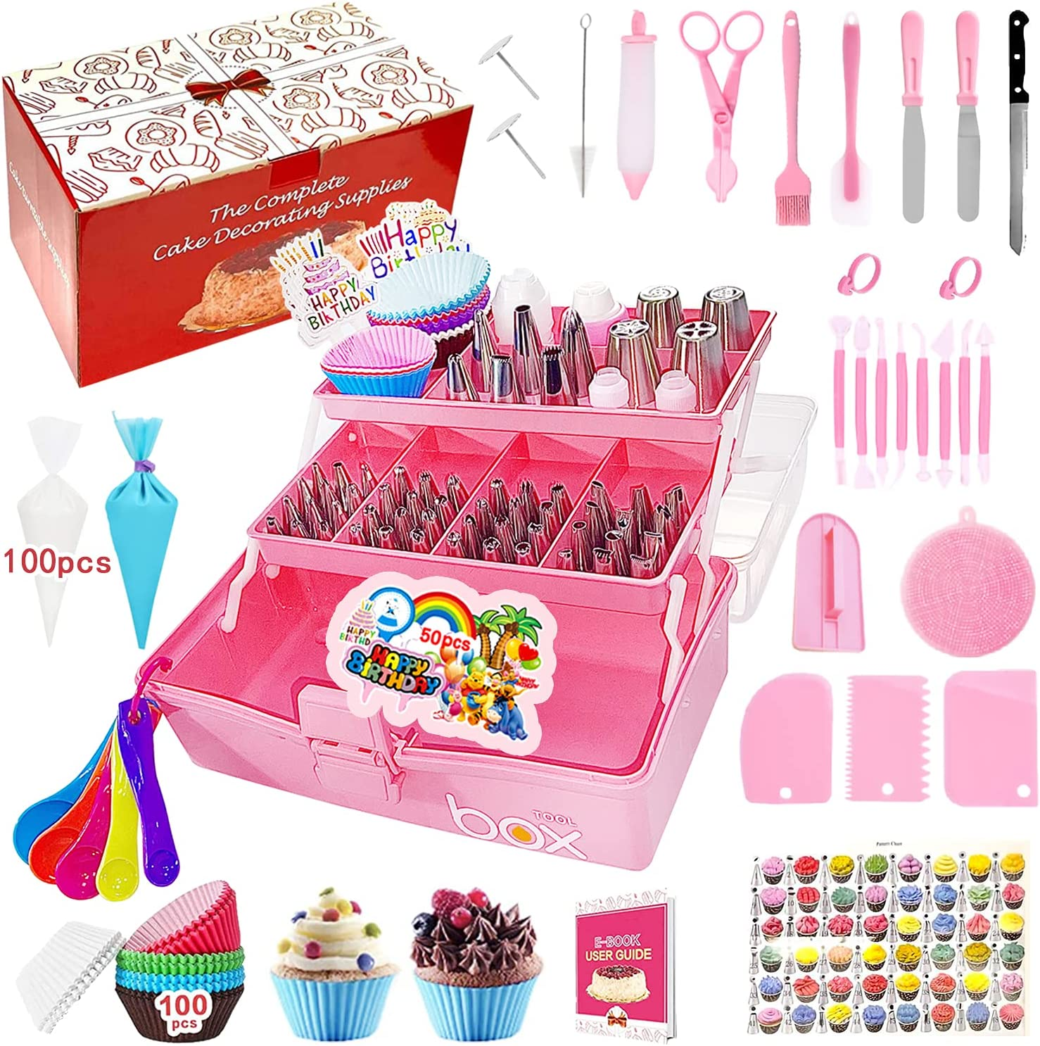 Fresno Mall Cake specialty shop Decorating Supplies 351-Piece Piping and Set Tips Bags