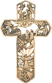 Dicksons Life of Christ Stories Carved Woodgrain 11 Inch Resin Hanging Wall Cross