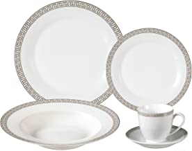 Lorenzo Import Porcelain Dinnerware Set, 24-Piece Service for 4 by Lorren Home Trends: Greek Key, Silver