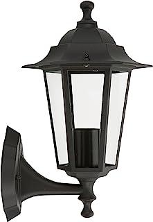 Smartwares 10.009.10 Aplique de pared ascendente, aluminio/cristal, Farol clásico, Negro, 34 x 22.5 cm