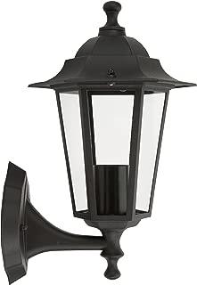 Ranex 10.009.10 Aplique de pared ascendente, aluminio/cristal, Farol clásico, Negro, 24 x 22.5 cm