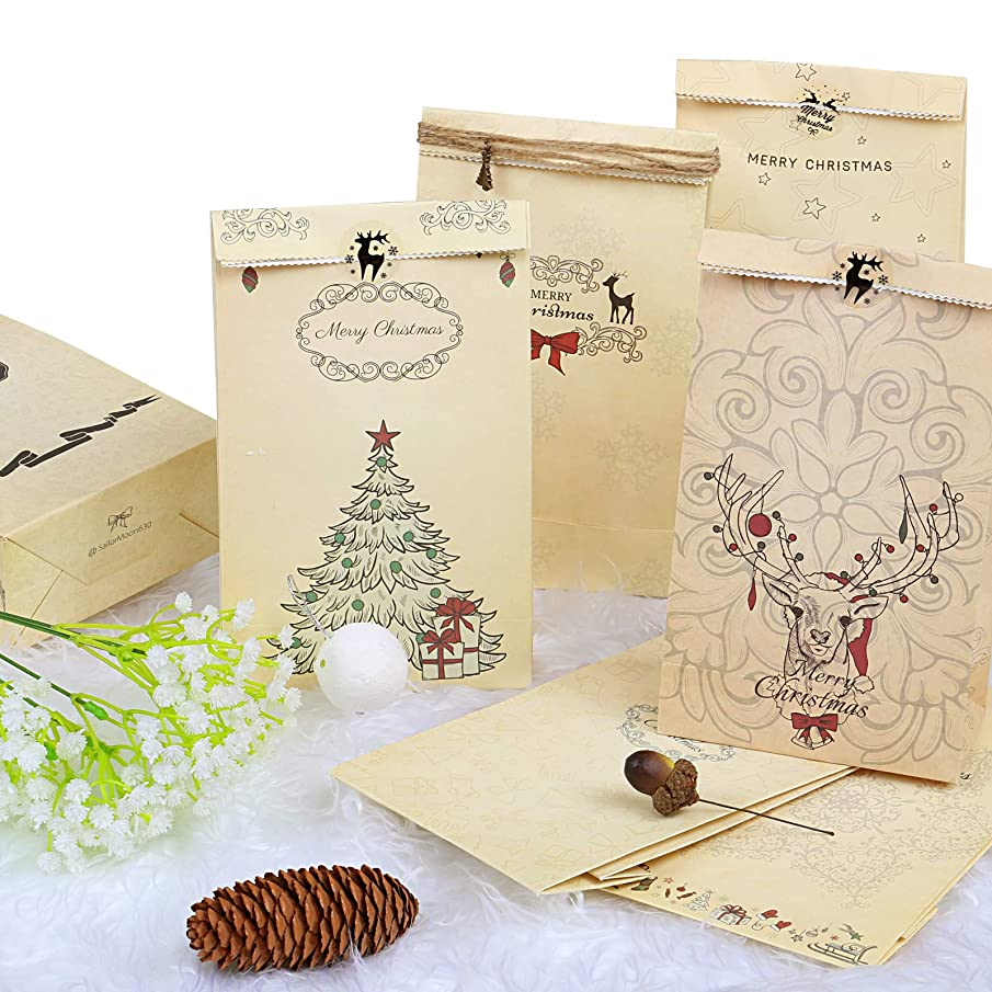 Kesoto 12PCS Christmas Kraft Gift Bags with Sealing Stickers for Christmas Goody Bags, Xmas Gift Bags, Classrooms and Party Favors, 8.7 x 4.7 Inch