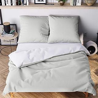 Wolkenfeld Bettwäsche 135x200 grau weiß - kuschelig weich & bügelfrei - 2teilig - 1x Bettbezug  1x Kissenbezug 80x80