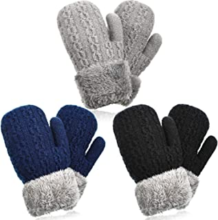 3 Pairs Kids Boy Girl Warm Winter Fleece Lined Mittens Knit Gloves with String