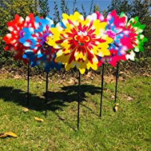 ECMQS - Spinner de Viento – Tres Capas de Dibujos Animados de Girasol para Exterior, jardín, decoración de Molino de Viento, Juguete para niños – 1 Unidad de Color Aleatorio