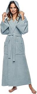 Arus Women's Hooded Classic Full Length Bathrobe Turkish Cotton Ankle Long Robe