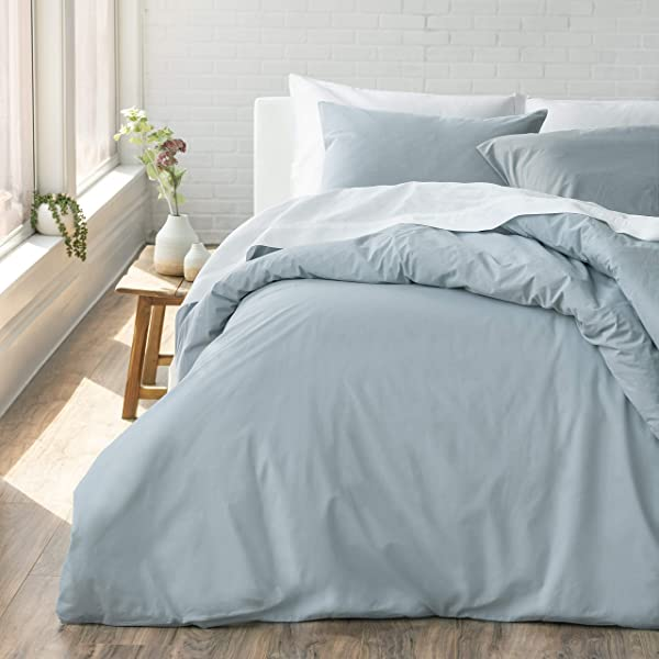 Welhome Cozy 100 Cotton Percale Washed Reversible Duvet Set Full Queen Size Chambray Blue 88 X 92 Cool Lightweight Supersoft Breathable Machine Washable