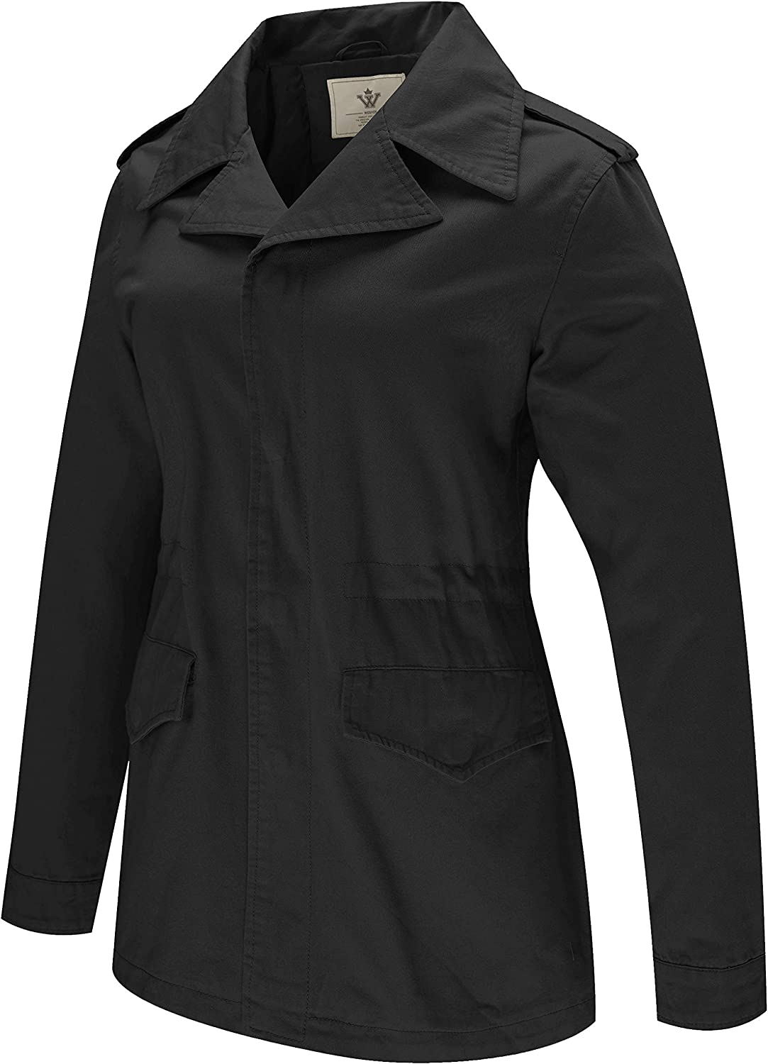 WenVen Womens Spring Military/Casual Cotton Anorak Jacket with Drawstring