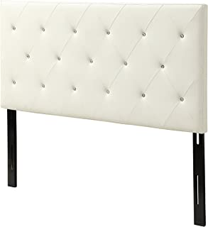 AC Pacific Modern California King Size Faux Leather Upholstered Tufted Headboard With Crystal Diamond Tufting, California King Size, White