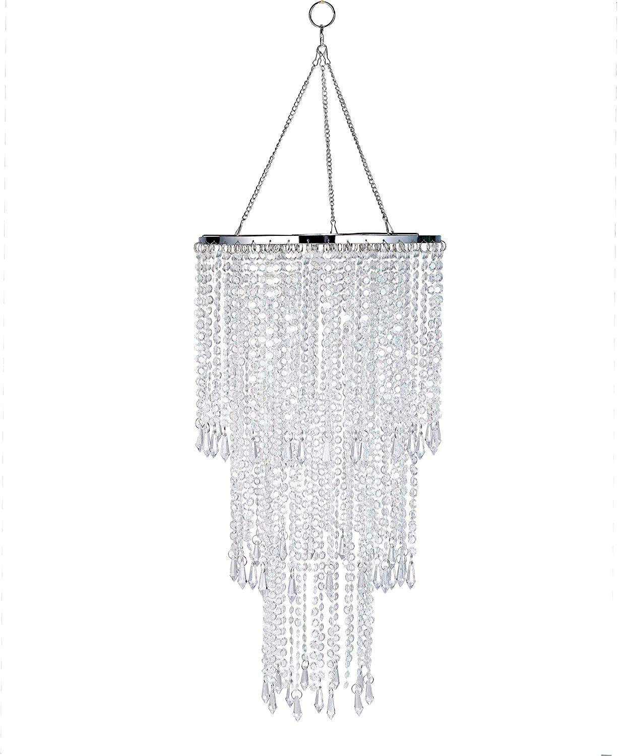 """Modern Chrome Beaded Hanging Chandelier (W10.25 x H20""""),3 Tiers Beads Pendant Shade, Ceiling Chandelier Lampshade with Acrylic Jewel Droplets, Beaded Lampshade (Crystal Iridescent)"""