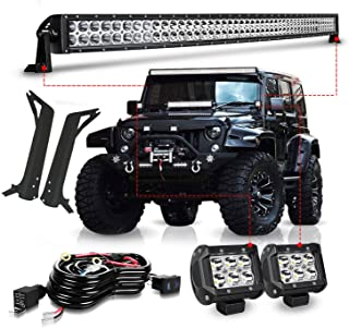 TURBO SII For 1997-2006 Jeep Wrangler TJ 50Inch Led Light Bar Offroad Light w/Upper Roof Windshield Lower Corner Mounting Brackets + 2PC 4