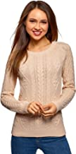 oodji Ultra Damen Pullover aus Strukturiertem Stoff mit Rundem Ausschnitt