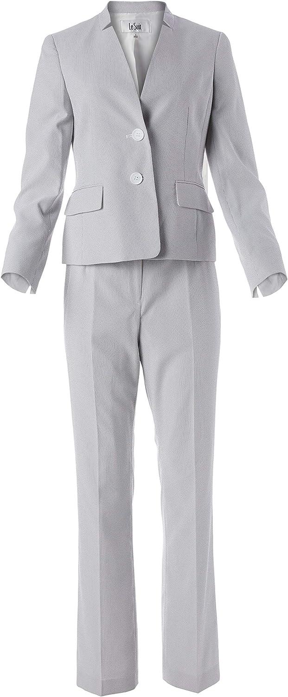 Le Suit Women's Plus Size 2 Button Notch Collar Pinstripe Seerucker Pant Suit