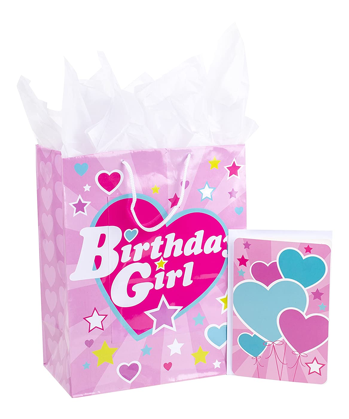 Hallmark Large Gift Bag with Birthday Card and Tissue Paper (Pink Heart, Birthday Girl)