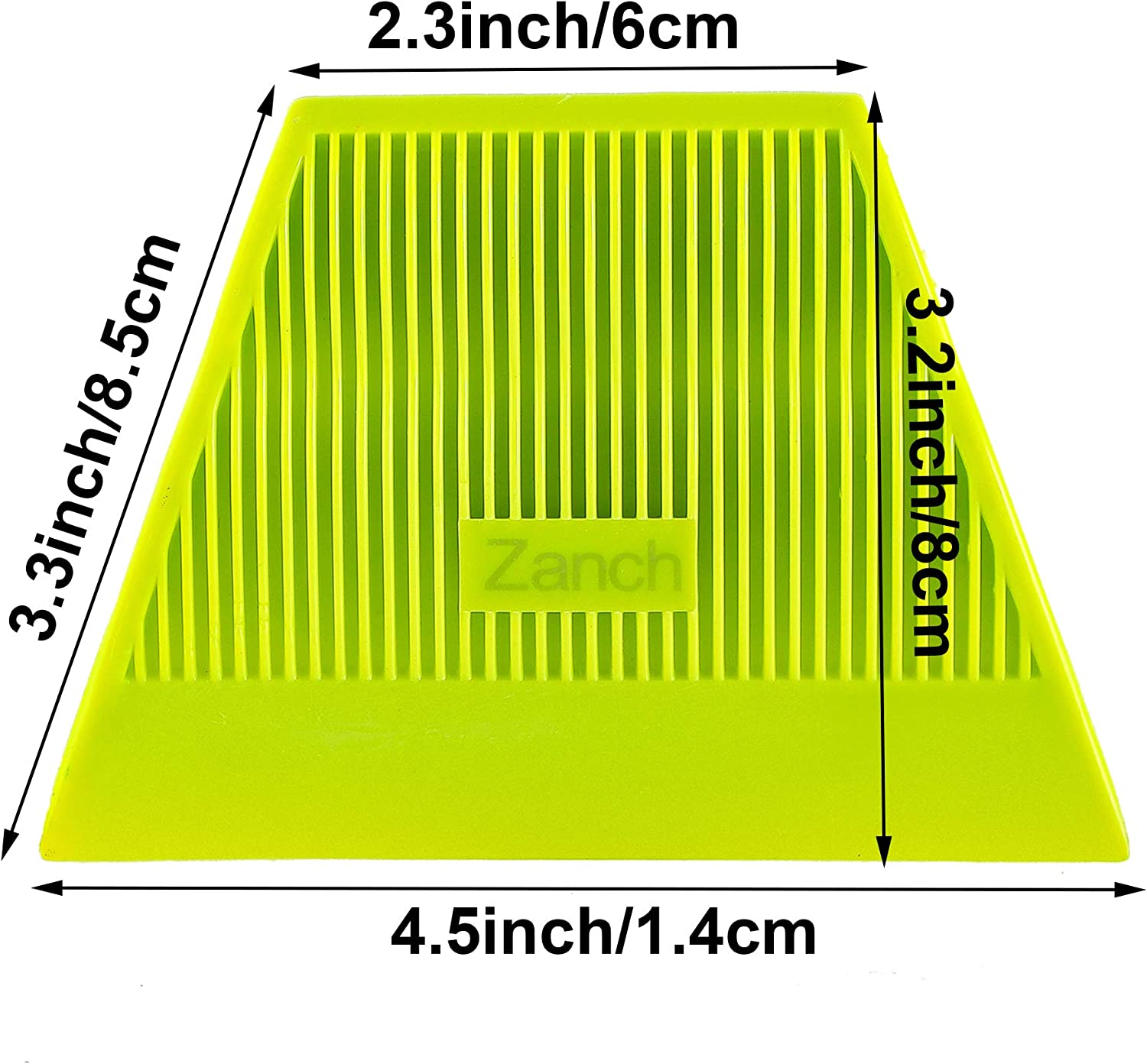 1 Zanch 1PCS Green Trapezoid Squeegee,Vehicle Vinyl Film Wrap Soft Rubber Scraper,Auto Window Tint Tool for Car Graphic Decals.