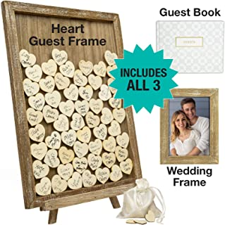 $39 Get Wedding Guest Drop Top Frame Wedding Guest Book Alternative with 70 Blank Wooden Hearts, a Traditional Guest Book, Picture Frame, and Display Easel (Rustic Brown Wood)