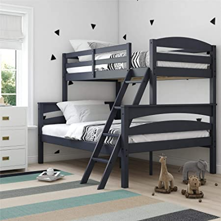Amazon Com Dorel Living Brady Solid Wood Bunk Beds With Ladder And Guard Rail Twin Over Full Graphite Furniture Decor