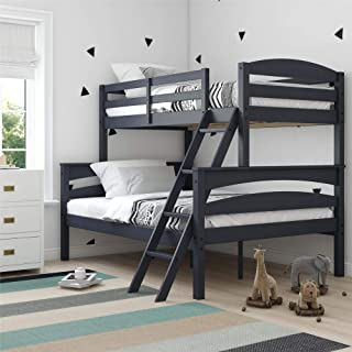 Dorel Living DA6940BL Brady Solid Wood Bunk Beds with Ladder and Guard Rail, Twin Over Full, Graphite