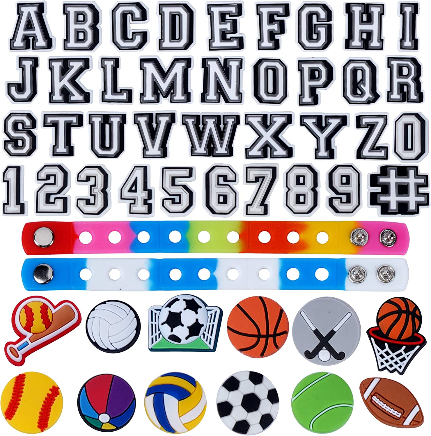 Lowest price challenge TopLAD 49pcs Super sale period limited Letters Ball Number Shoe bracelet 2 for + Cl Charms