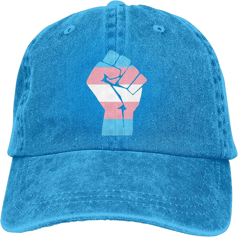 CUTEDWARF Fist Transgender Flag Unisex Adjustable Cotton Baseball Hat Cowboy Cap Dad Hats Denim Trucker Hat
