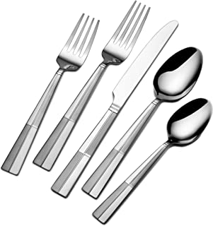 Pfaltzgraff 5131465 Arabesque Frost 45-Piece Stainless Steel Flatware Set with Serving Utensil Set and Metal Storage Caddy, Service for 8
