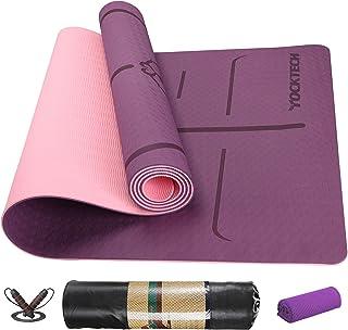 YockTech Tapis de Yoga Antidérapant TPE Sans Polluant, Tapis de Gymnastique avec Lignes D'alignement pour la Posture, Idéa...